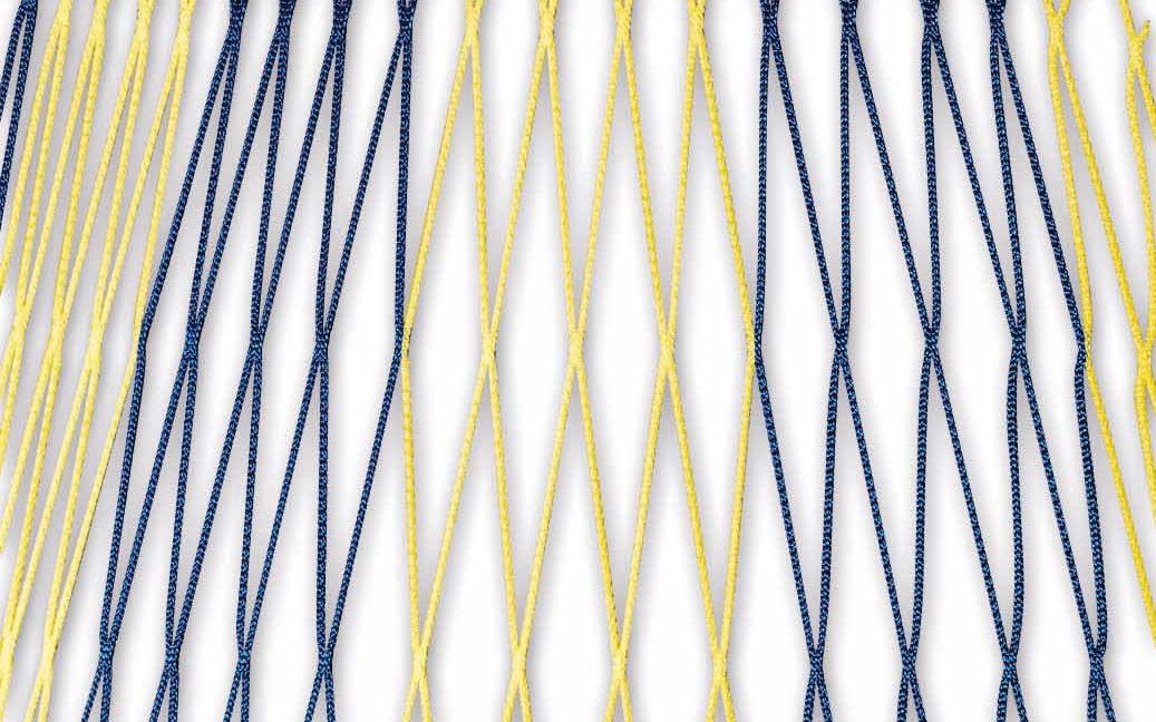 Zweifarbiges Fußballtornetz 7,32 x 2,44 m in Blau-Gelb