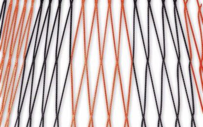 Tornetz Jugendtor 5,00 x 2,00 m, Farbe: schwarz-rot in Diagonalstreifen, Auslage: 80/200 cm