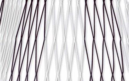Tornetz Jugendtor 5,00 x 2,00 m, Farbe: schwarz-weiß in Diagonalstreifen, Auslage: 80/200 cm