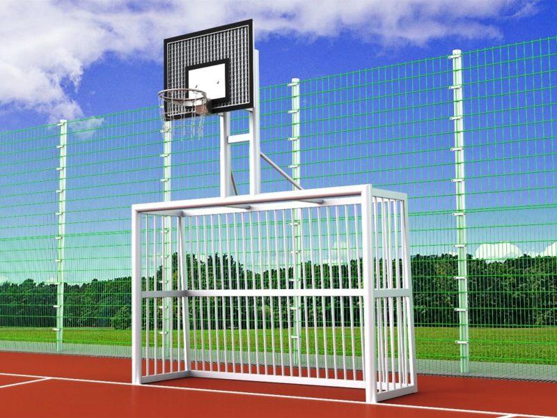 Bolztor mit Basketballaufbau, sandverfüllt