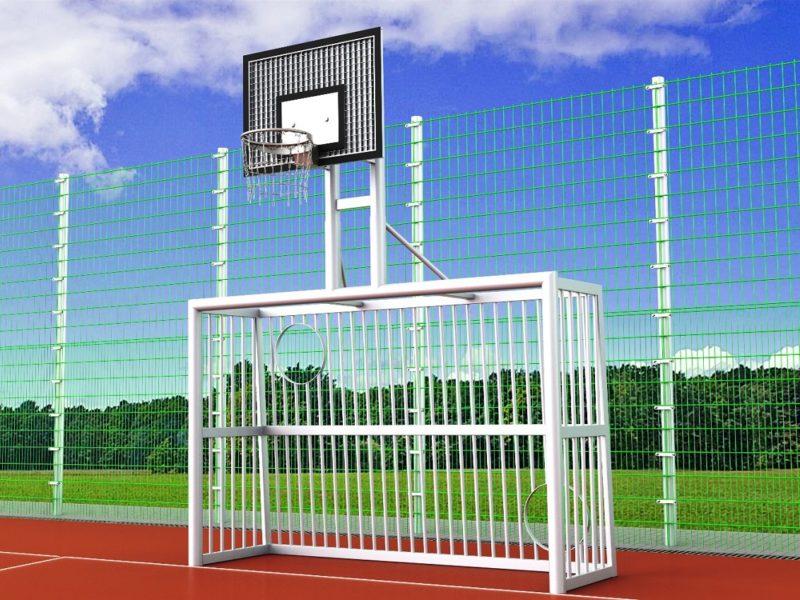 Bolzplatztor mit Torwand und Basketballkorb