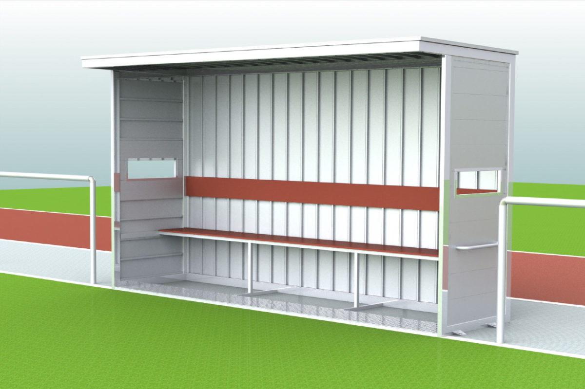 """Spielerkabine """"Berlin Mitte"""", geneigte Ausführung, Dach, Rück- und Seitenwände komplett aus Alu, Sichtschlitze, Länge 2,50 m"""