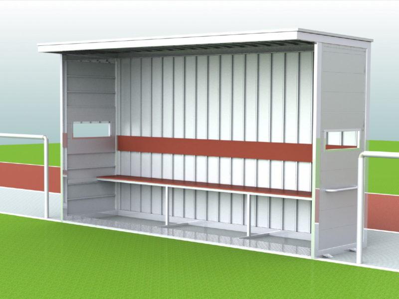 """Spielerkabine """"Berlin Mitte"""" -easytec-, geneigte Ausführung, Dach, Rück- und Seitenwände komplett aus Alu, Sichtschlitze, Länge 5,00 m"""