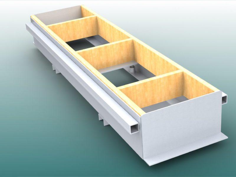 Verstellbare Einbauwanne, verstärkte Seiten
