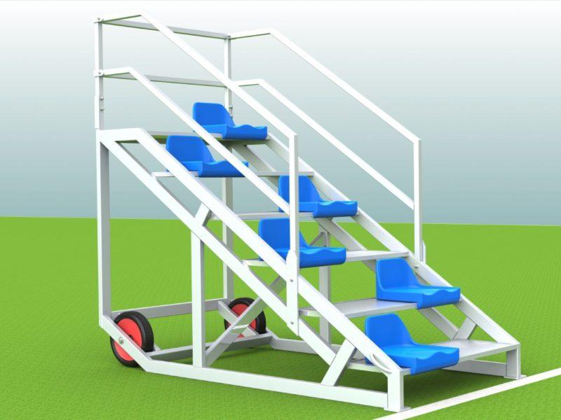 Zielrichtertreppe mit Sitzschalen aus Aluminium