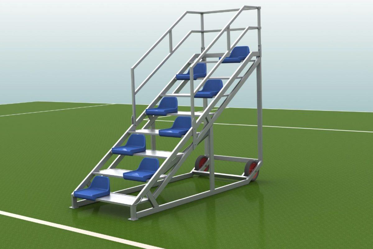 Zielrichtertreppe aus Aluminium für 6 Personen mit Sitzschalen von artec
