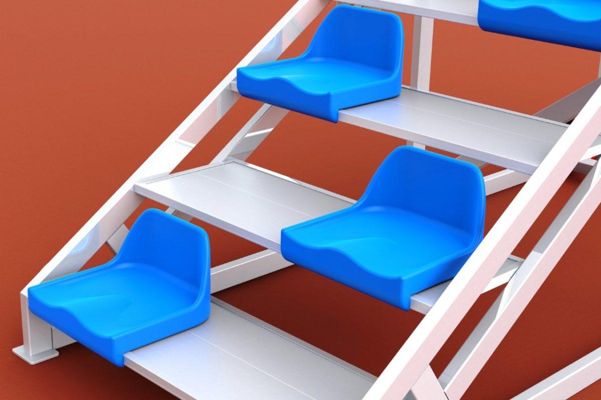Zielrichtertreppe aus Aluminium für 6 Personen mit Sitzschalen von artec Sportgeräte