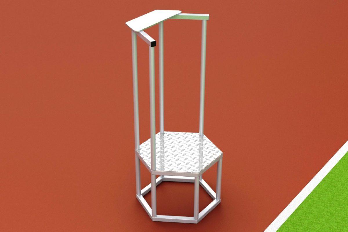 Starterpodest aus Aluminium mit Schreibablage und Geländer von artec
