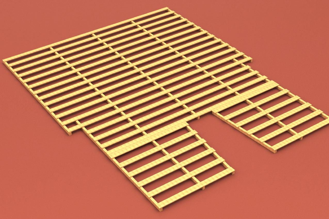 Auflageraster aus Holz für Stabhochsprungmatte, 8 x 6 m