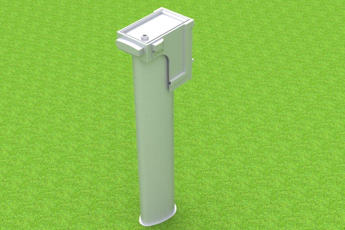 Bodenhülse Standard mit losem Deckel für Hammer- und Diskuswurfschutzgitter, 7 auf 10 m steigend, von artec
