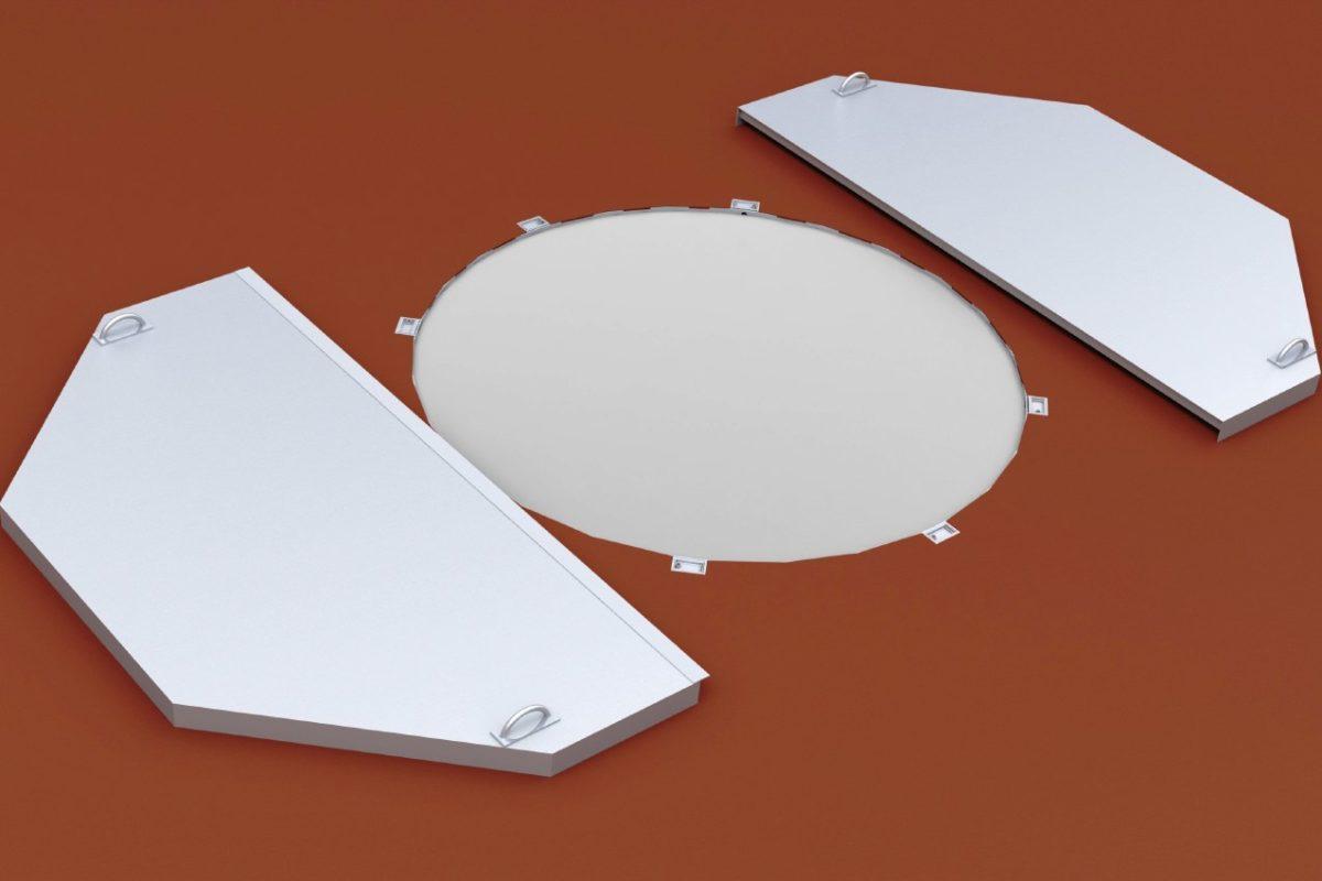 Abdeckung für Kugelstoßring aus Aluminium mit Tragegriffen von artec Sportgeräte