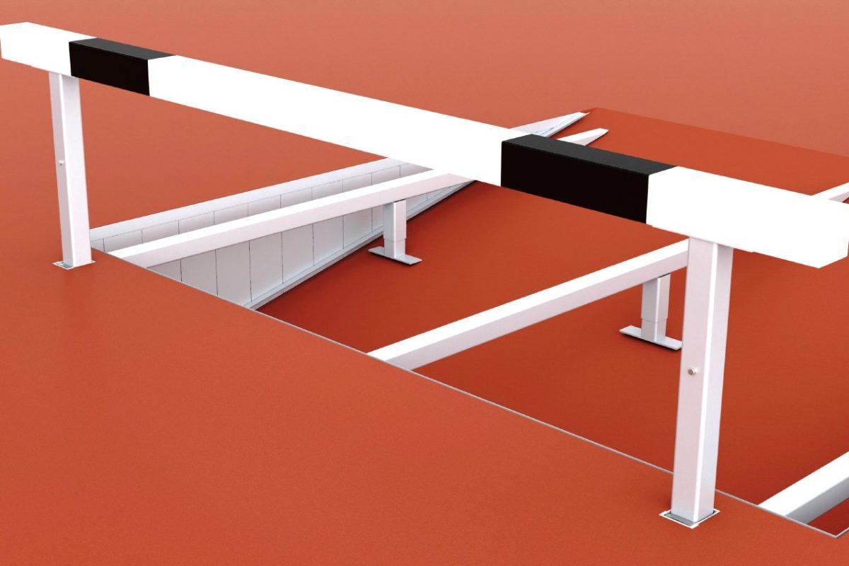 Wassergraben-Hindernis aus Aluminium mit Querbalken aus Spezialholz, höhenverstellbar, Länge: 3,96 m, mit IAAF-Zertifikat von artec