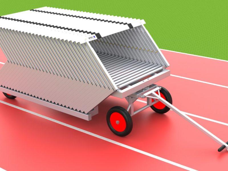 Hürdentransportwagen aus Aluminium für 30 Hürden, Beladung von hinten von artec Sportgeräte