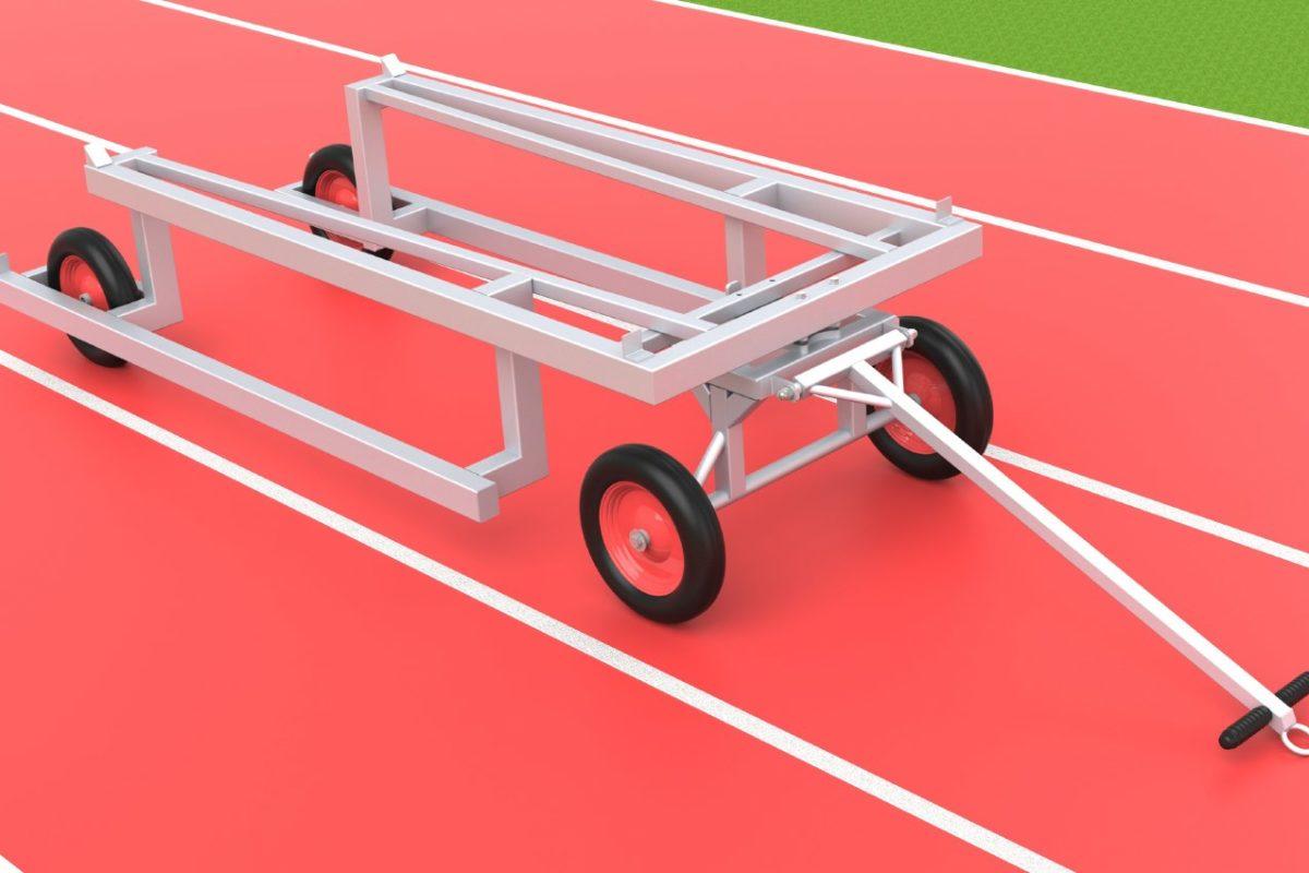 Hürdentransportwagen aus Aluminium für 30 Hürden, Beladung von hinten von artec