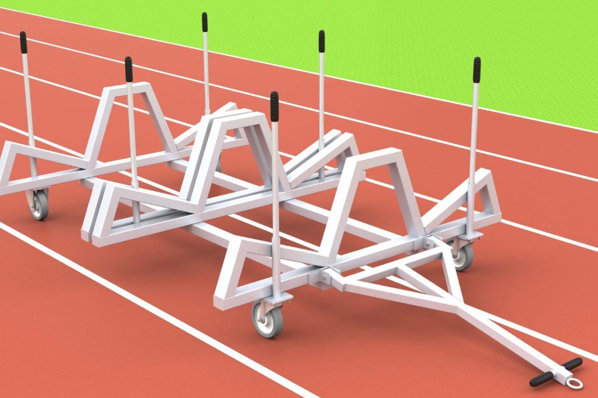 Hürdentransportwagen aus Aluminium für 40 Hürden, seitliche Beladung, von artec