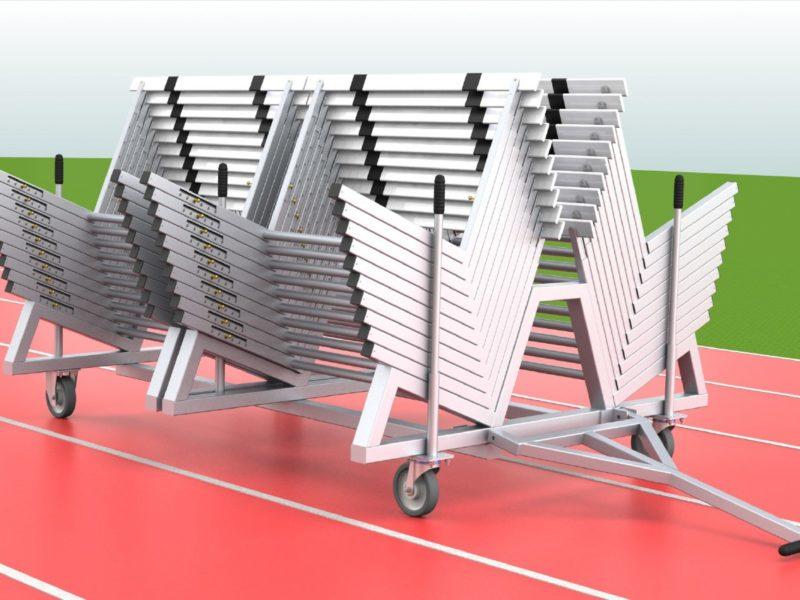 Transportwagen für 40 Hürden aus Aluminium