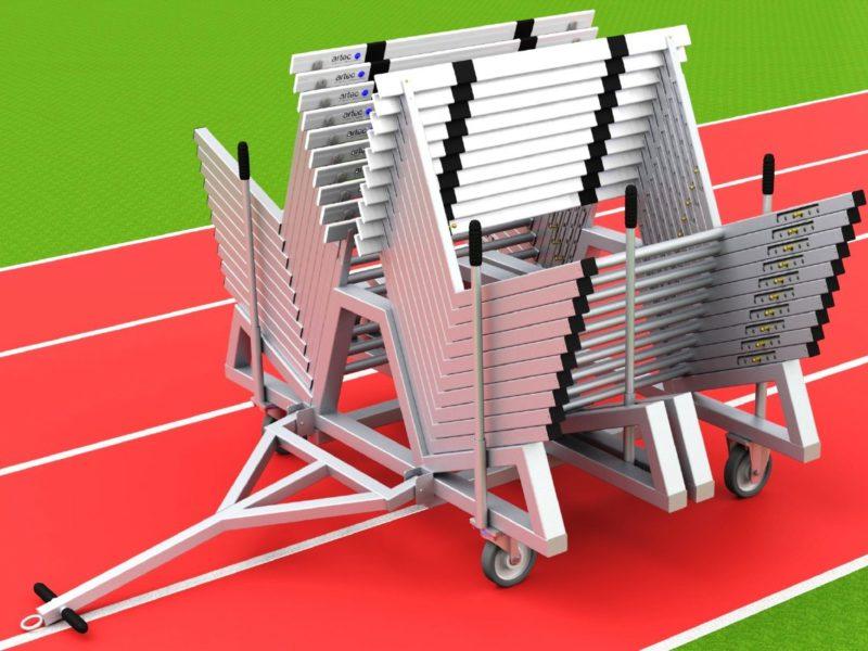 Hürdentransportwagen aus Aluminium für 20 Hürden, Beladung von der Seite von artec Sportgeräte