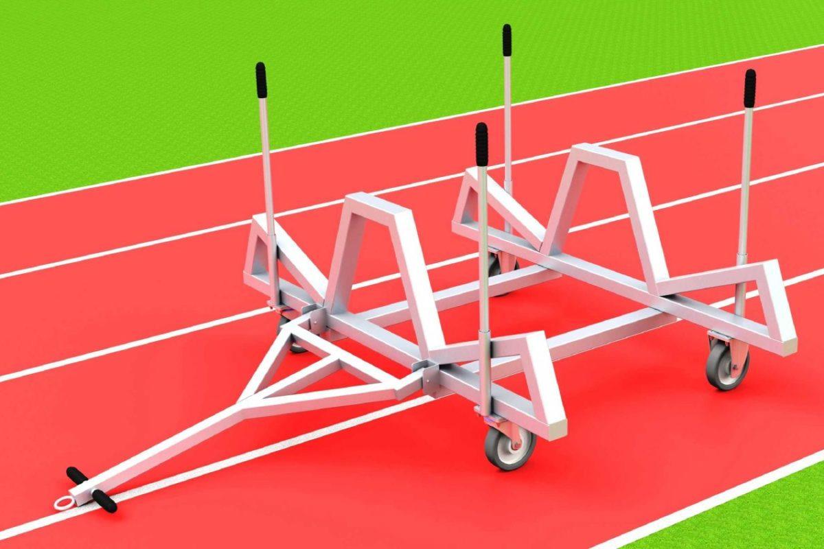 Hürdentransportwagen aus Aluminium für 20 Hürden, Beladung von der Seite von artec