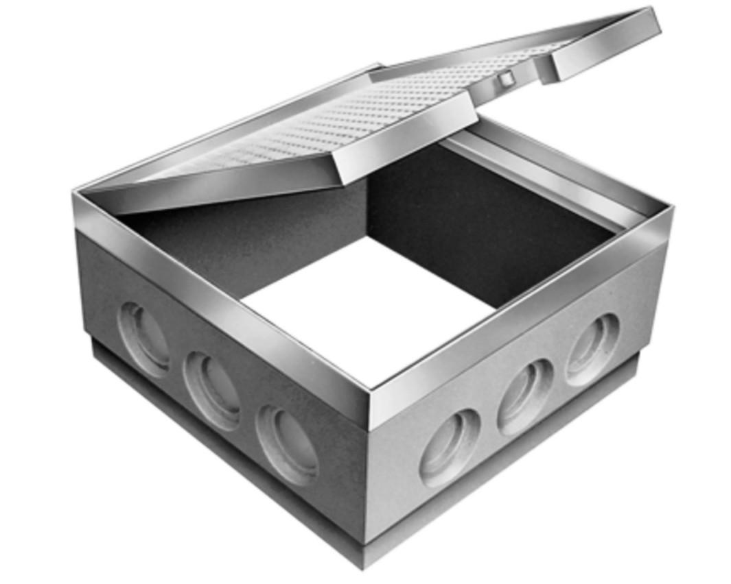 Verteilerschacht Typ W aus Aluminium mit Abdeckung, Abmessung: 600/600/300 mm von artec Sportgeräte