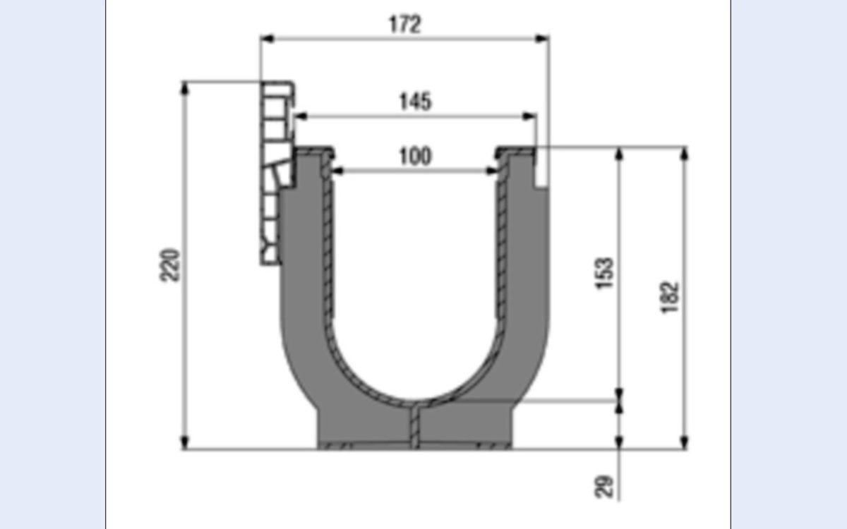 Sportplatz Rinne NW 100 mm mit Rasenkante, Typ 010, aus Kunststoff für Sportanlagen, Nennweite 100 mm