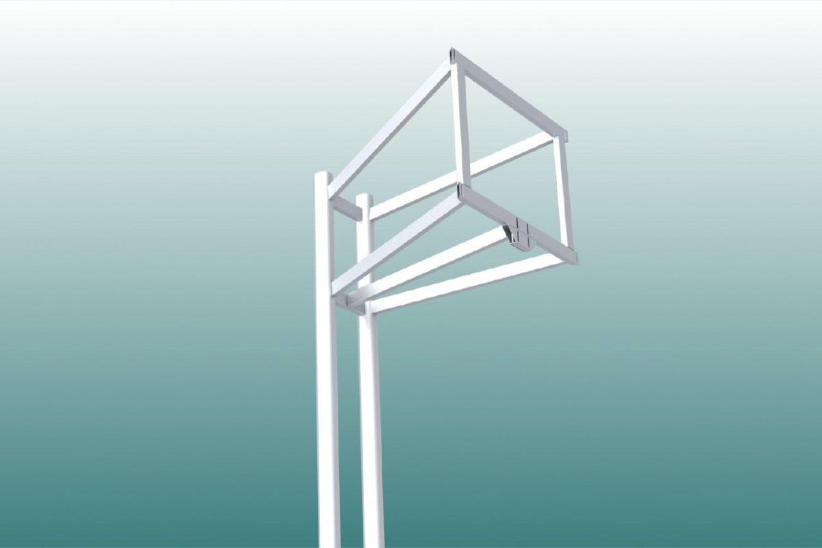 Basketball-Ständer aus Aluminium, Zweimast, Ausladung: 1,25 m, Profil: 100 x 120 mm, TÜV-geprüft von artec