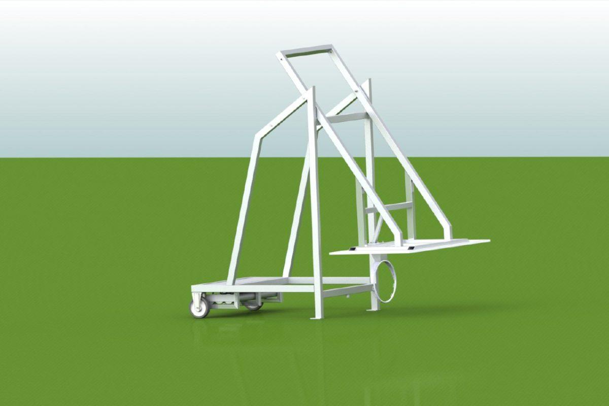 Basketball - Anlage mobil für outdoor, aus Aluminium, fahrbar, mit Kontergewichten, Auslage 1,65 m von artec