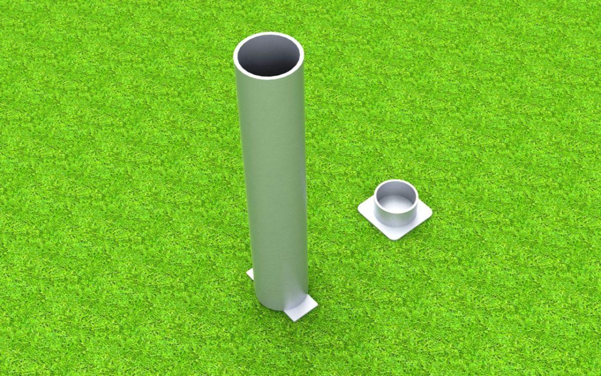 Bodenhülse Standard mit losem Deckel für Ballfangpfosten, Profil: 100 x 120 mm von artec