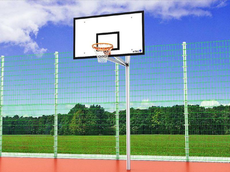 Einmast-Basketballanlage aus Aluminium