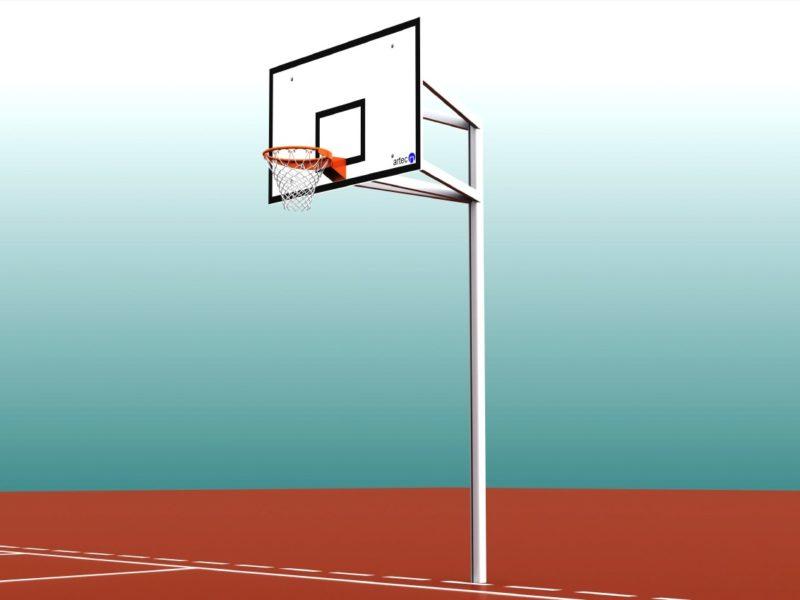 Robuster Einmast-Basketballständer aus Aluminium