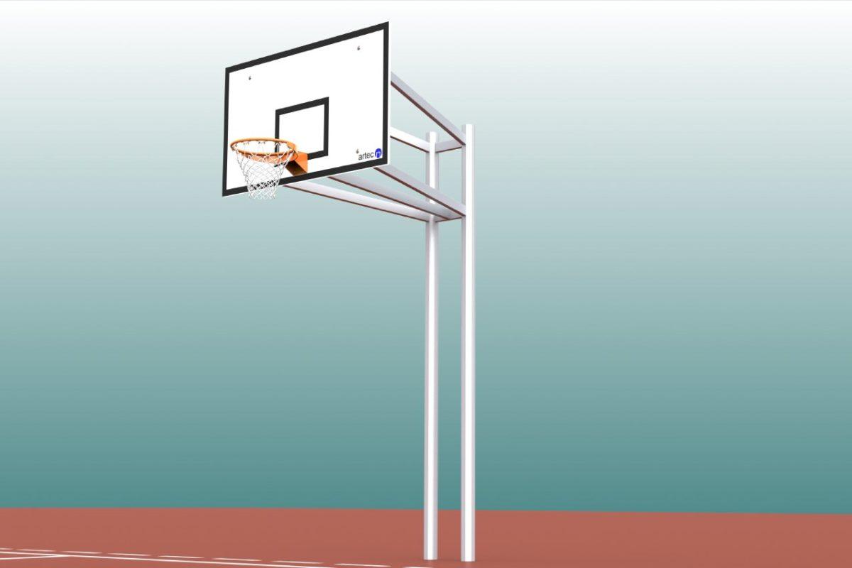 Vollverschweißter Zweimast-Basketballständer aus Aluminium