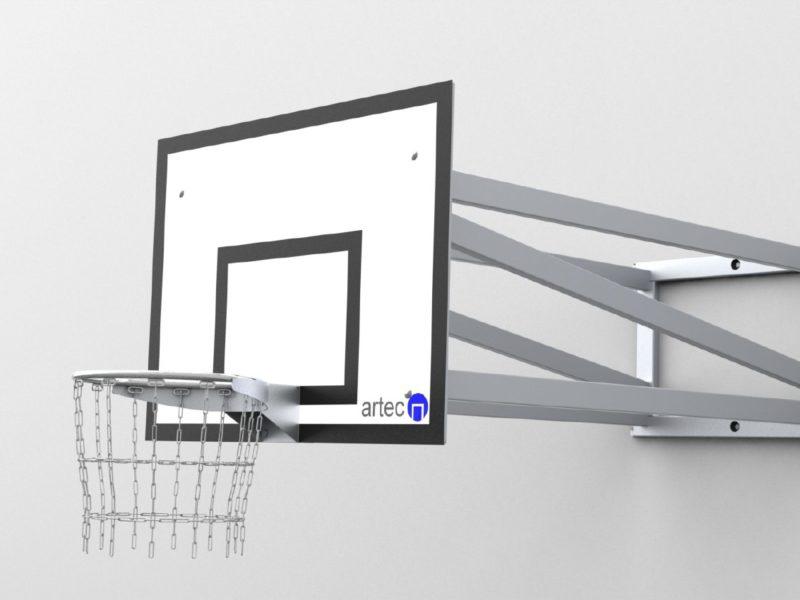 Basketball-Wandkonstruktion aus Aluminium, in einem Stück verschweißt, Ausladung: 1,65 m