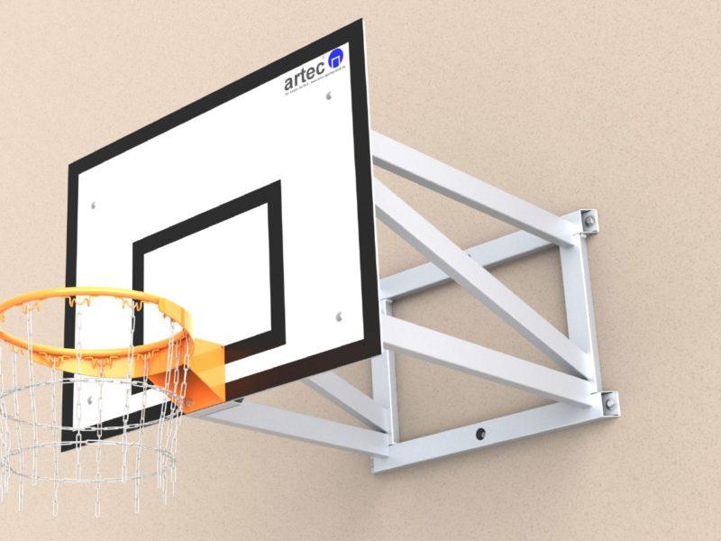Basketball-Wandkonstruktion aus Aluminium, in einem Stück verschweißt, Ausladung: 1,25 m von artec Sportgeräte