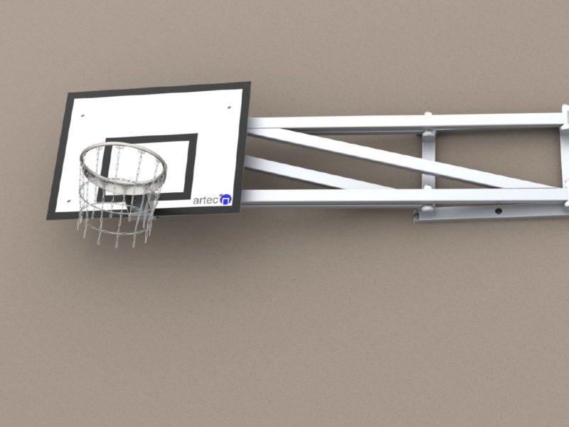 Einklappbares Basketballgestell zur Wandbefestigung
