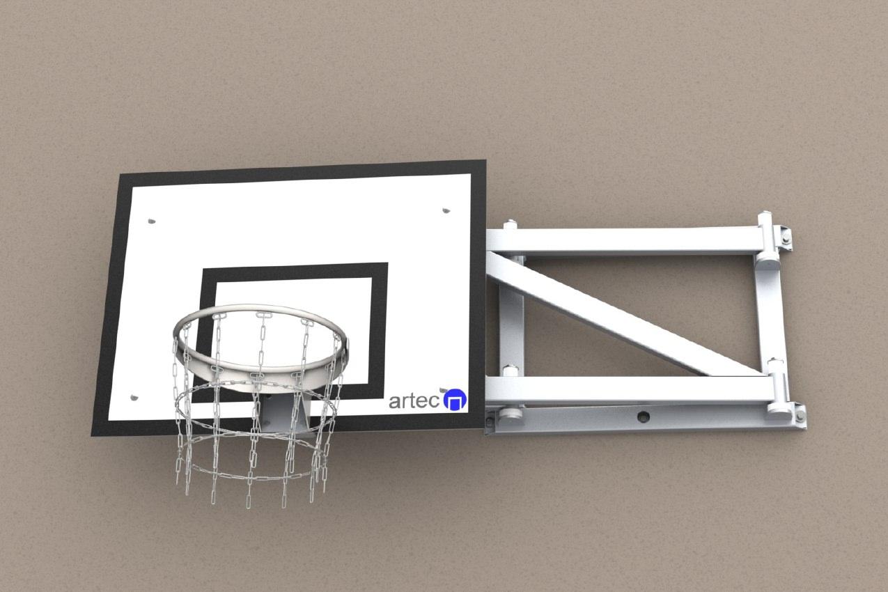 Einschwenkbare Basketballanlage aus Aluminium