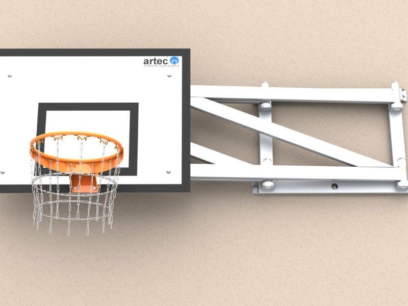 Basketball-Wandkonstruktion aus Aluminium, einklappbar, Ausladung: 1,65 m von artec Sportgeräte