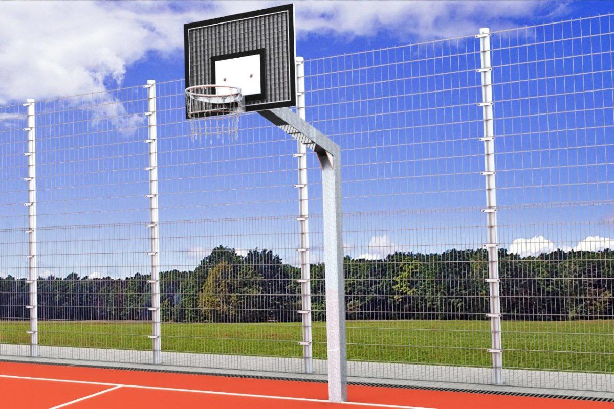 Streetball-Ständer aus Stahl, Einmast, Ausladung: 1,65 m, Profil: 150 x 150 mm, TÜV-geprüft von artec Sportgeräte