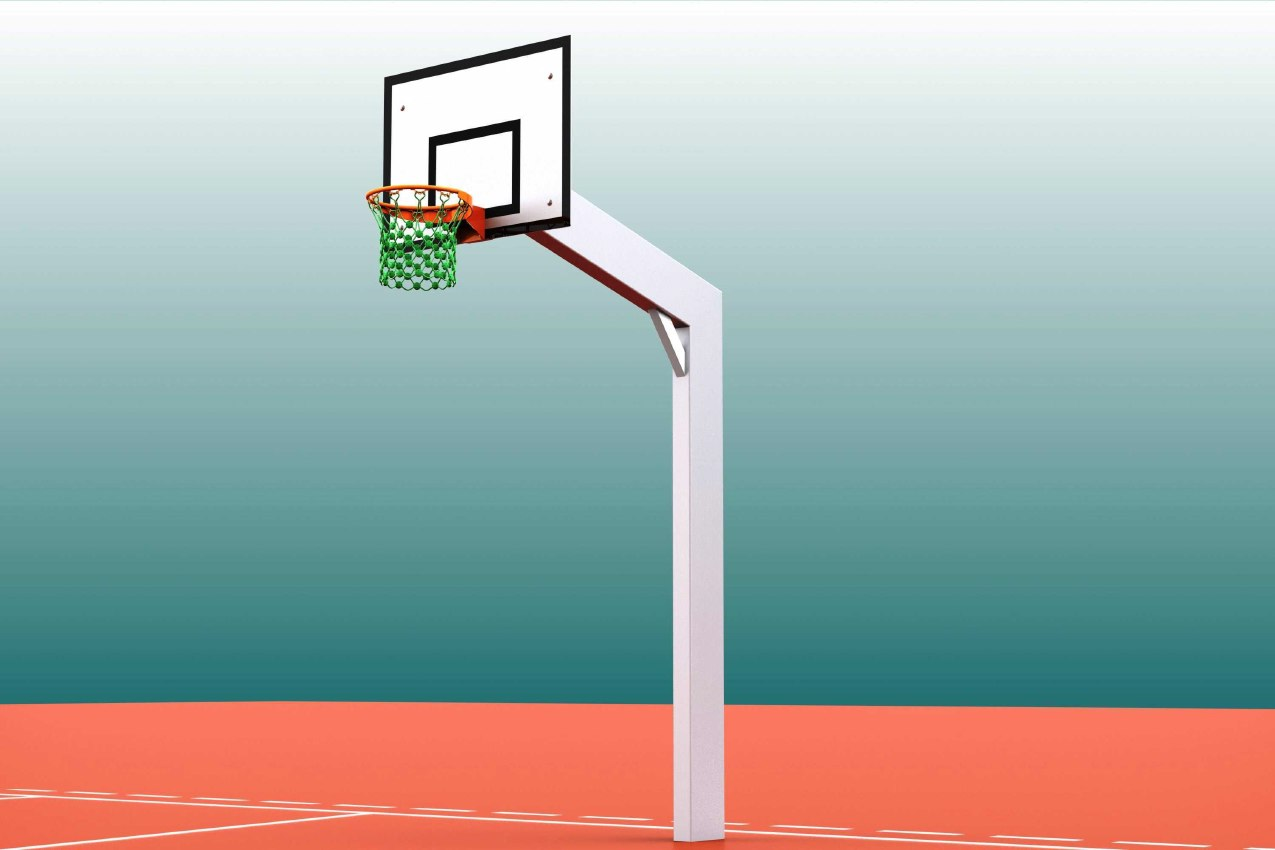 Einmast-Basketballständer für Streetball aus Aluminium