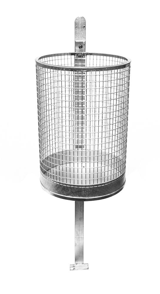 Abfallbehälter, runde Form aus Stahl, feuerverzinkt, einschl. Wandbefestigung, Inhalt: 50 ltr von artec Sportgeräte