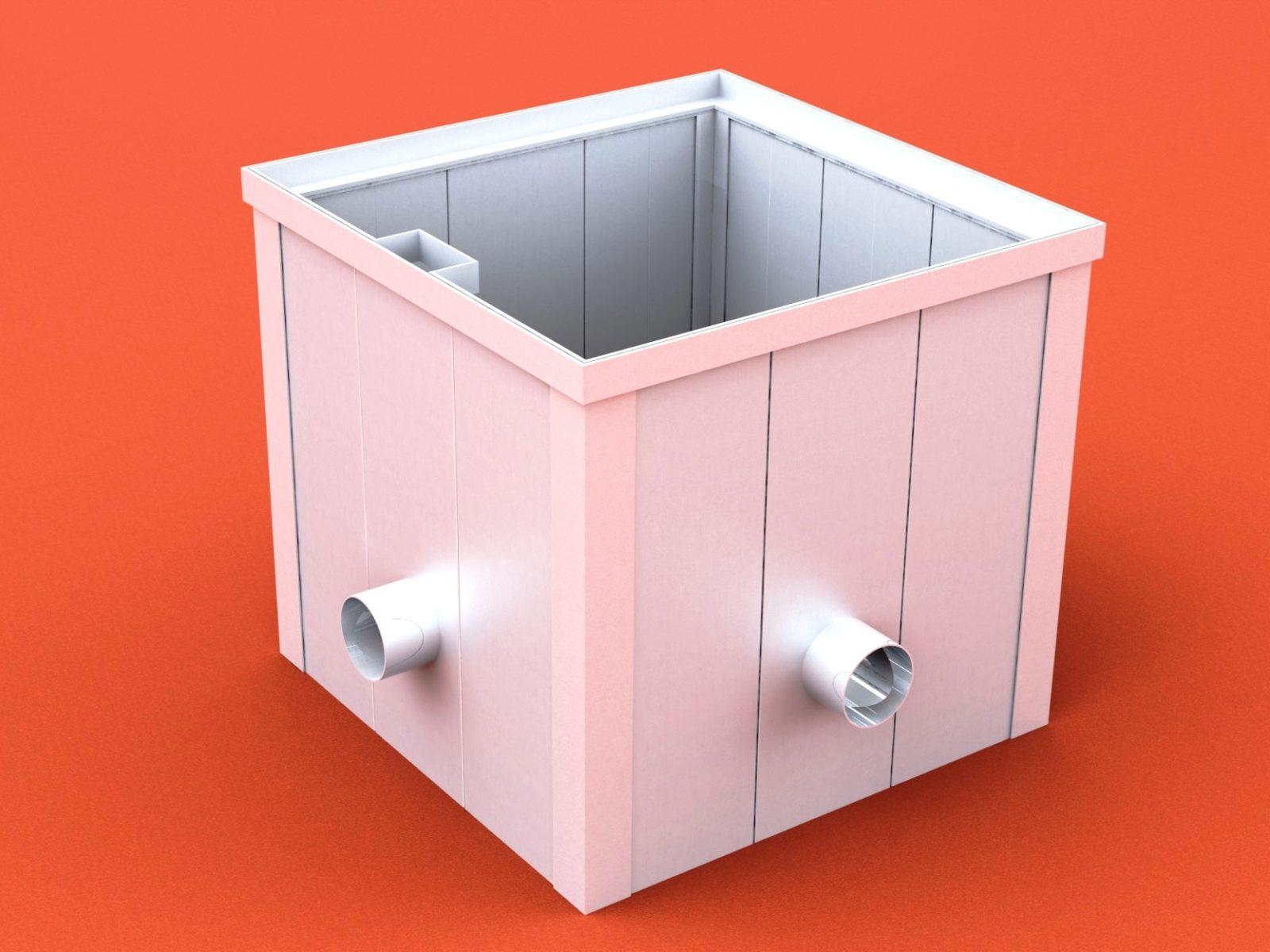 Verteilerschacht Typ E aus Aluminium mit Deckel, Abmessung: 600/600/600 mm von artec
