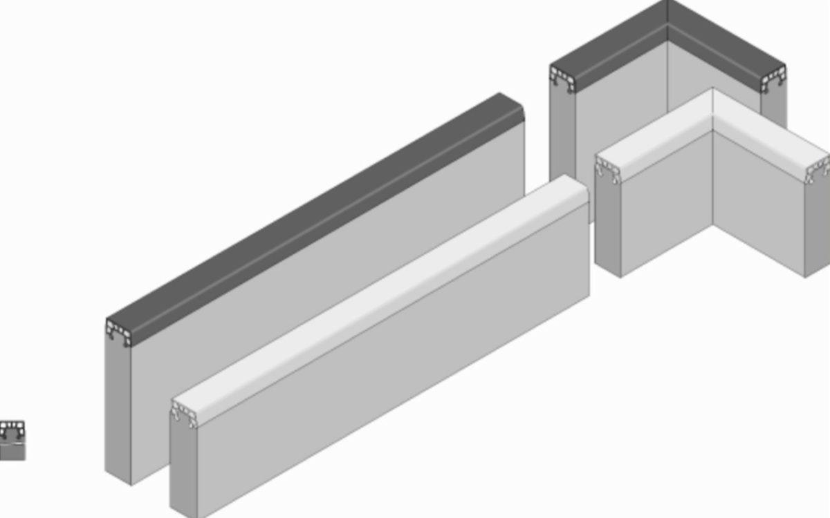 Soft-Randstein Winkel-Stück aus Faserbeton mit Gummipolster-Auflage, weiß, Abmessung 250/250-60/400 mm