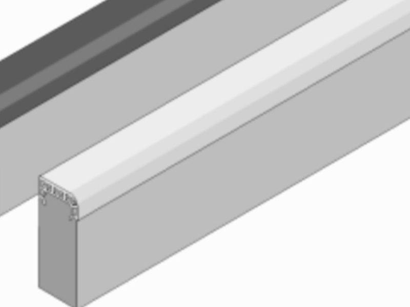 Soft-Randstein aus Faserbeton mit Gummipolster-Auflage, weiß, Abmessung 1000/60/200 mm von artec Sportgeräte