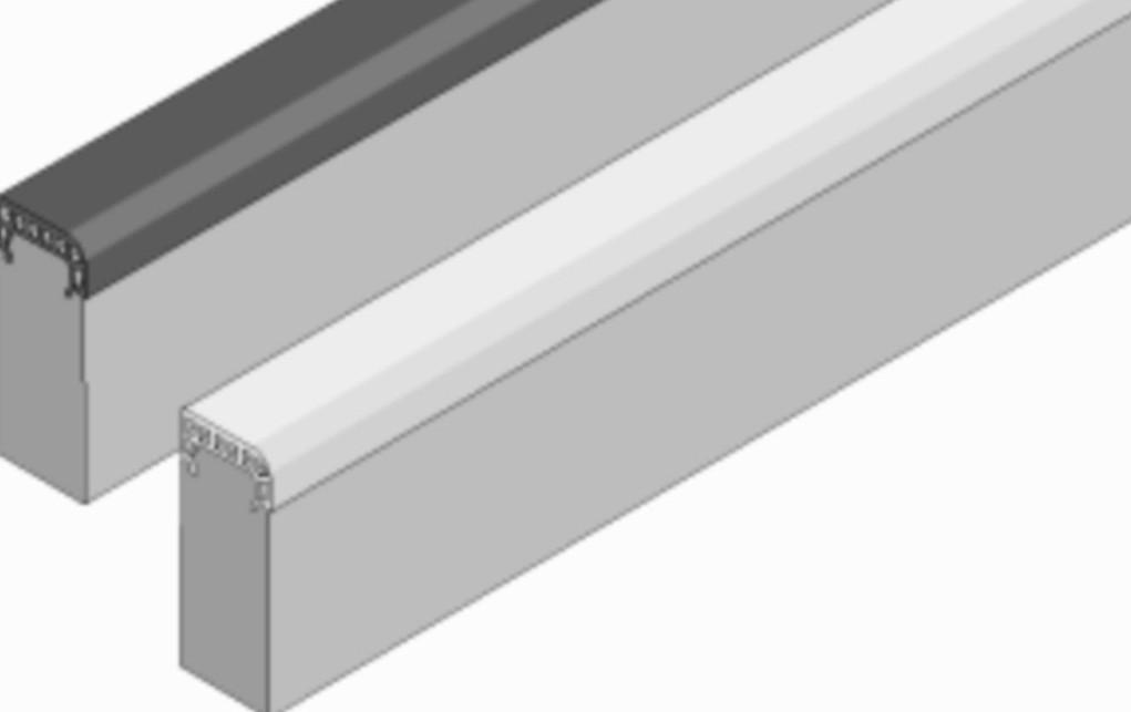 Soft-Randstein aus Faserbeton mit Gummipolster-Auflage, weiß, Abmessung 1000/60/250 mm von artec Sportgeräte