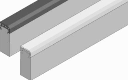 Soft-Randstein aus Faserbeton mit Gummipolster-Auflage, weiß, Abmessung 1000/60/300 mm von artec Sportgeräte