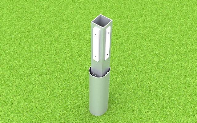 Adapter für Bolztore im Ovalprofil, aus Aluminium mit Kunststoff-Gleitern, zum Einschieben in Bodenhülsen, Profil: 80 x 80 mm von artec Sportgeräte