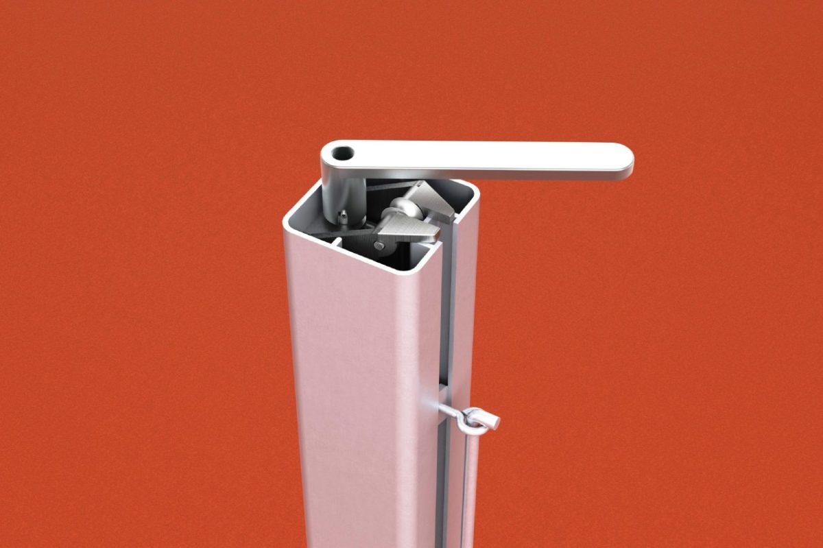 Tennispfosten aus Aluminium (Paar), mit innenliegender Spannvorrichtung und Kurbel, eloxiert, Profil: 80 x 80 mm von artec
