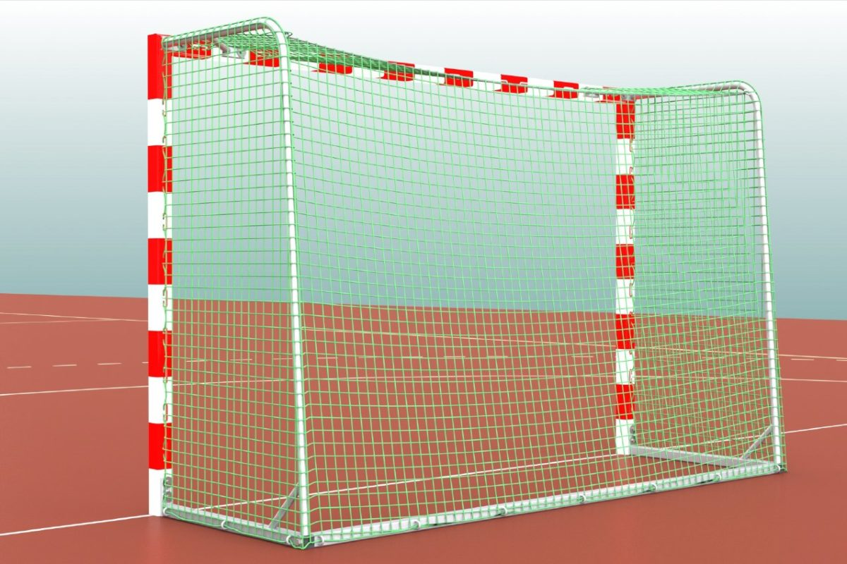 Handballtor aus Aluminium, eingefräste Netzaufhängung, in einem Stück verschweißt, Ausladung: 1,00 m, Farbe: rot/weiß, Netz über die Bügel gezogen von artec