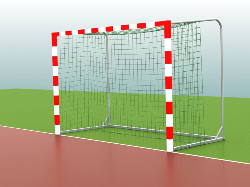 Handballtor in Rot / Weiß, anklappbare Netzbügel