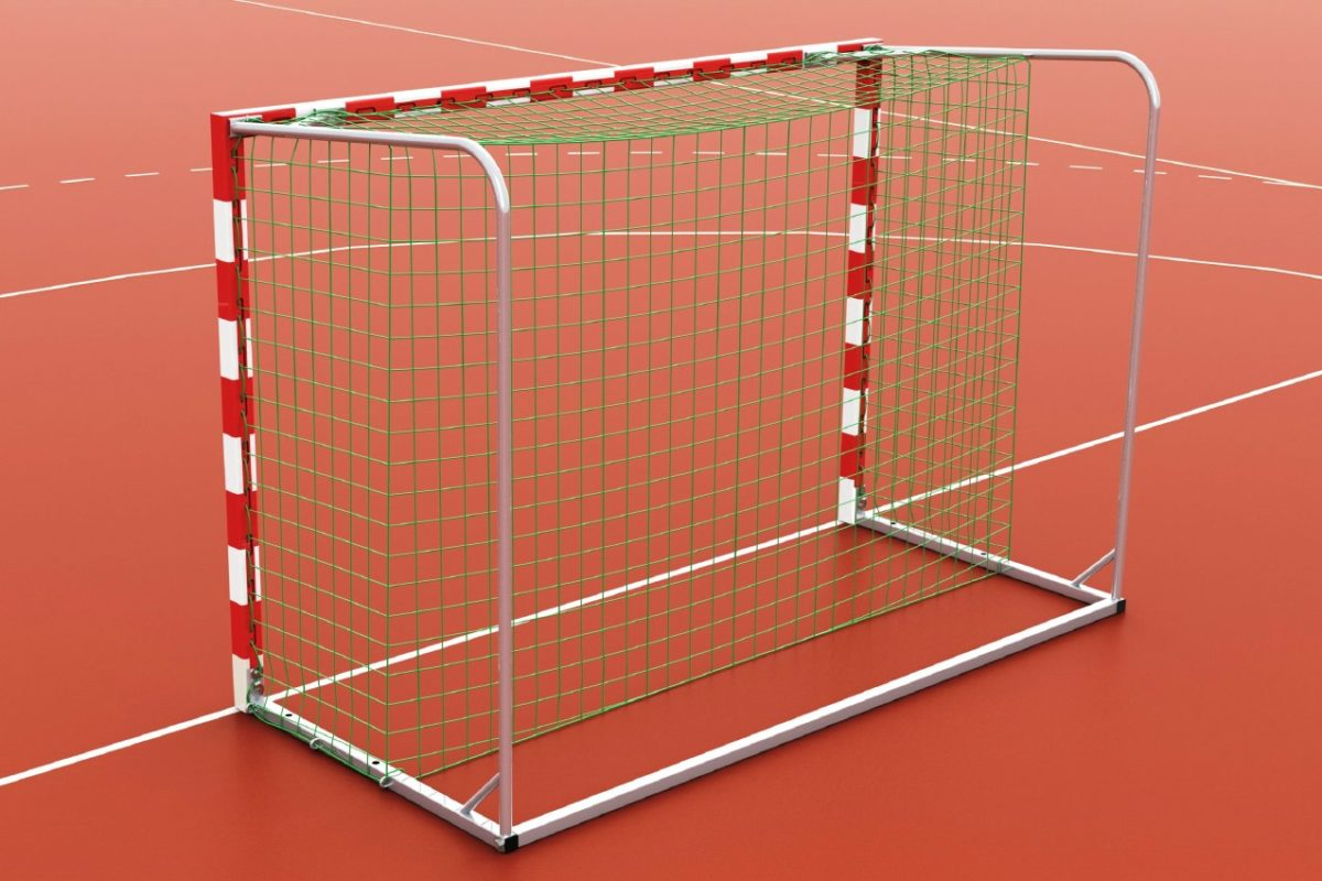 Handballtor aus Aluminium, eingefräste Netzaufhängung, Torrahmen in einem Stück verschweißt, Ausladung: 1,40 m, Farbe: rot/weiß, BW-Standard von artec