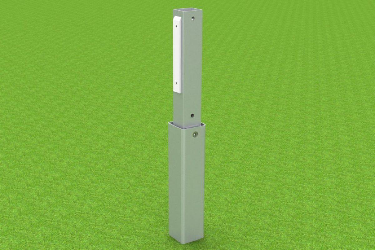 Adapter für Handballtore, aus Aluminium mit Kunststoff-Gleitern, zum Einschieben in Bodenhülsen von artec