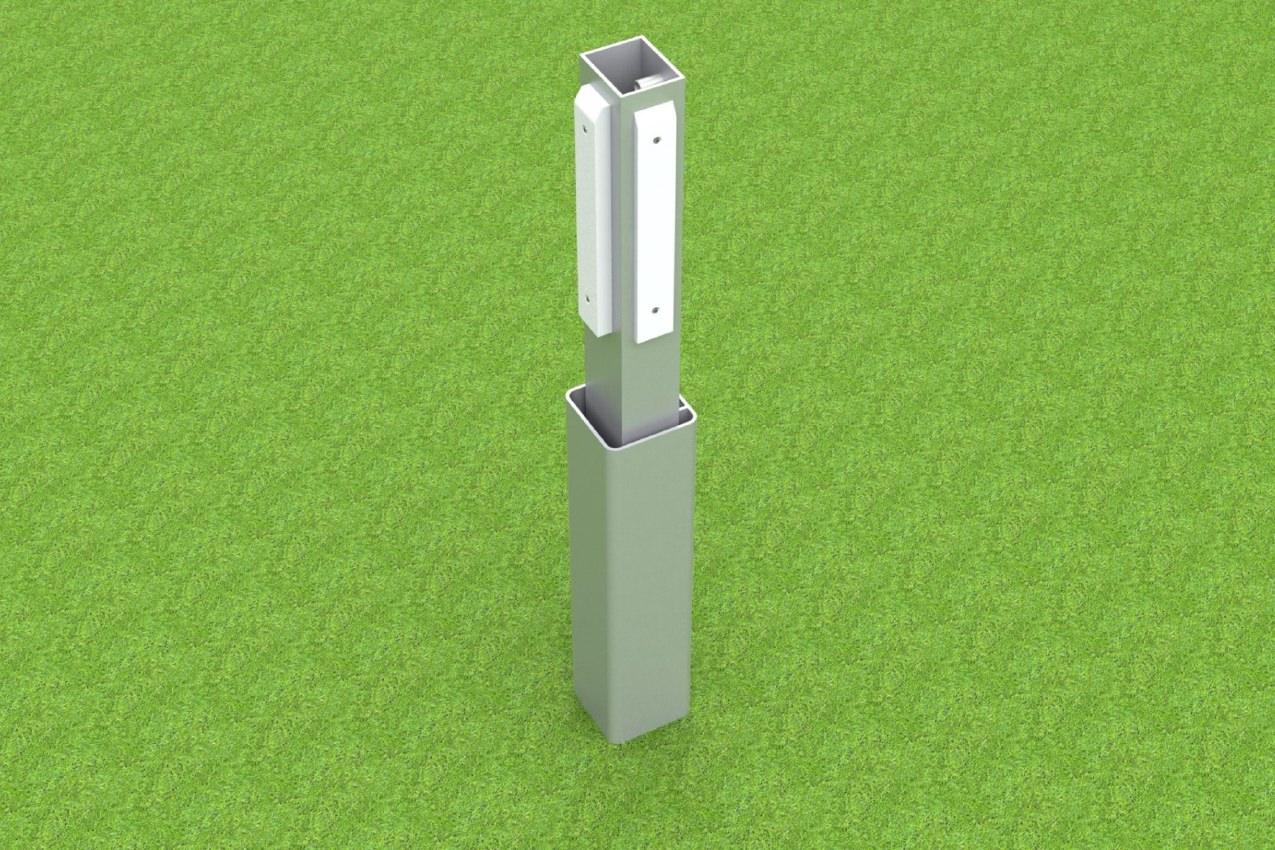 Adapter für Handballtore und Bolztore, aus Aluminium mit Kunststoff-Gleitern, zum Einschieben in Bodenhülsen von artec Sportgeräte